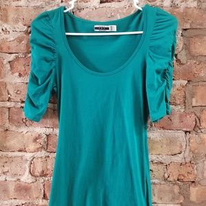 Zara Green Ruffled Shoulder Top